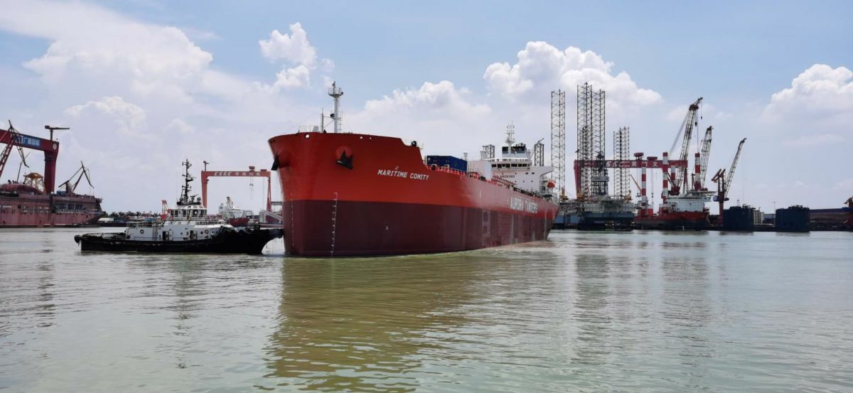 GSI has built tankers with dual-fuel propulsion and scrubbers, such as Maritime Comity for Aurora Tankers (source Aurora Tankers)