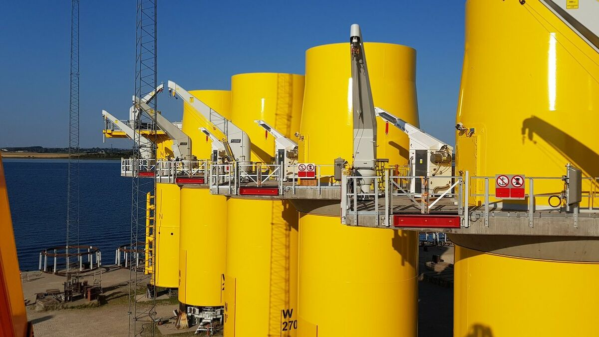 The GUS on foundations awaiting installation on the Hornsea Two offshore windfarm