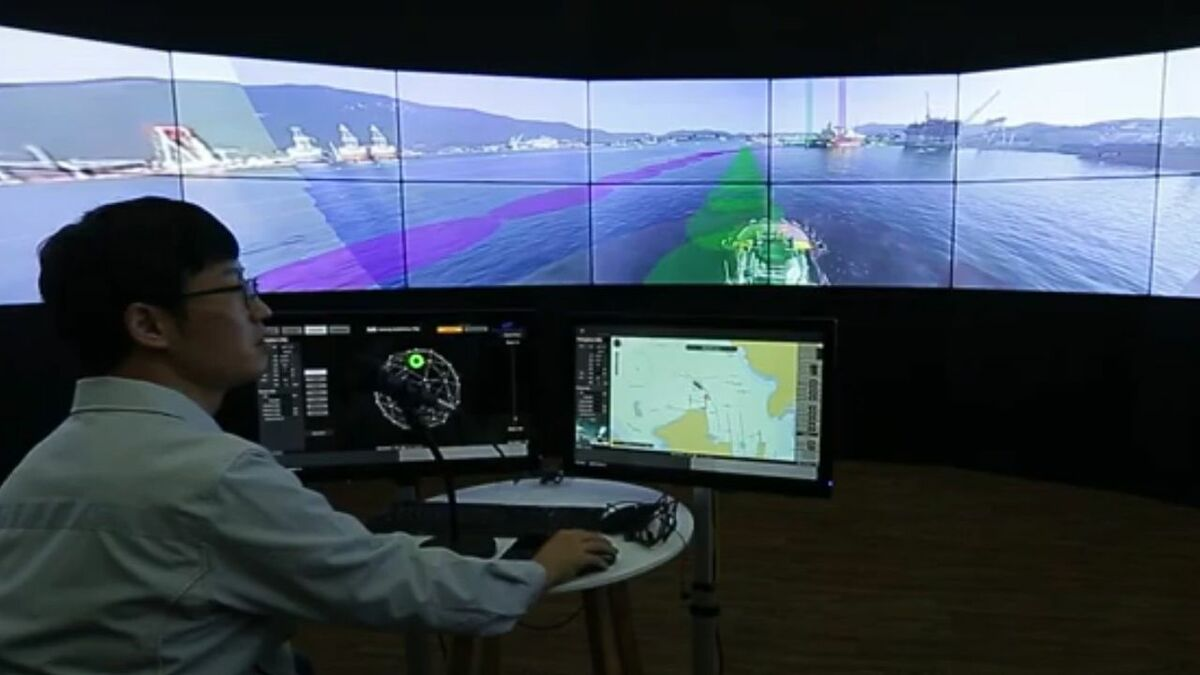 An operator monitors autonomous tug navigation in South Korea (source: Samsung)