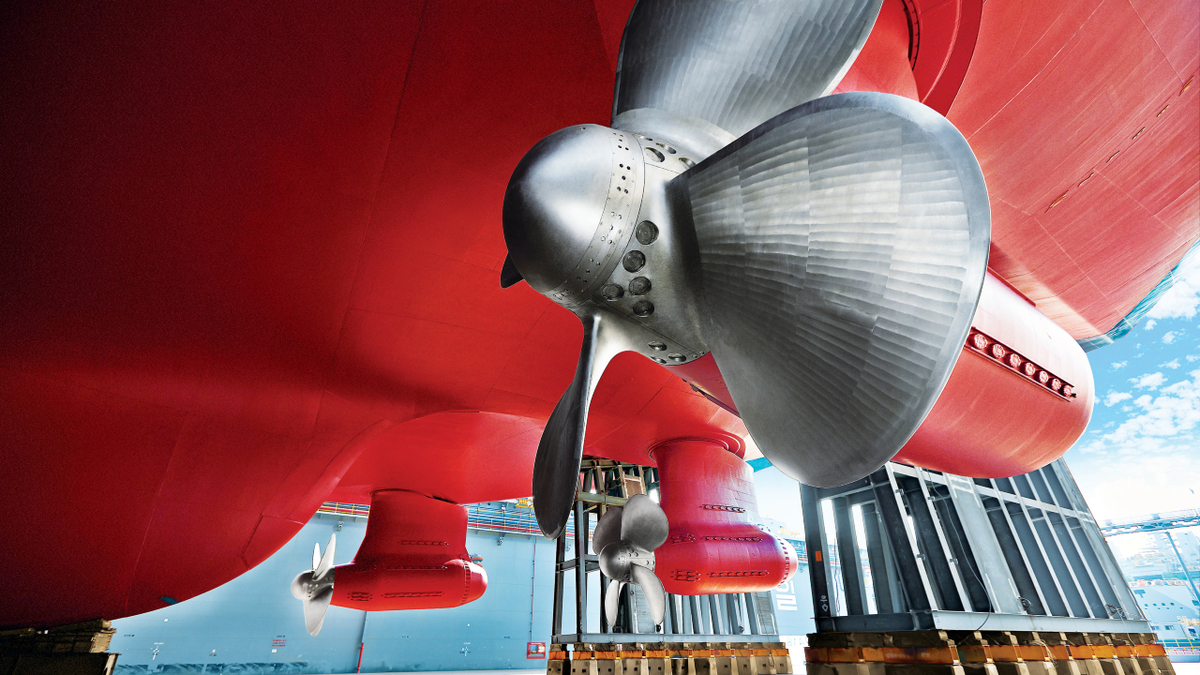Three 17-MW Azipod propulsor units will provide each LNGC with excellent manoeuvrability in icy waters (source: ABB)