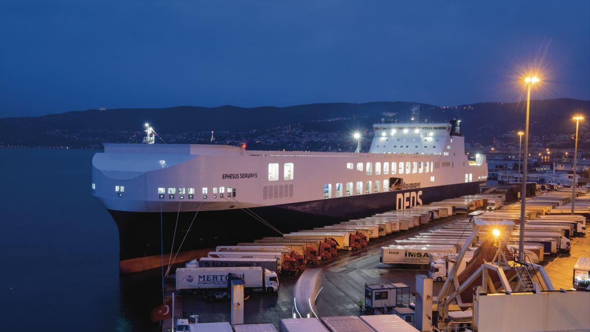 The new logistics-dedicated mega ferries are designed for quick turnarounds and high-speed crossings. Ephesus Seaways is the first of the fleet (source: DFDS)