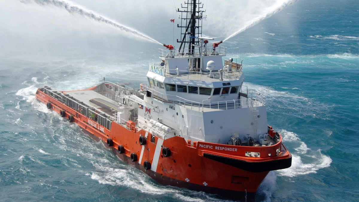 Fitted with two monitors, Pacific Responder has DNV GL class +1A1 Fire fighter(I) for external firefighting (source: Fire Fighting Systems)