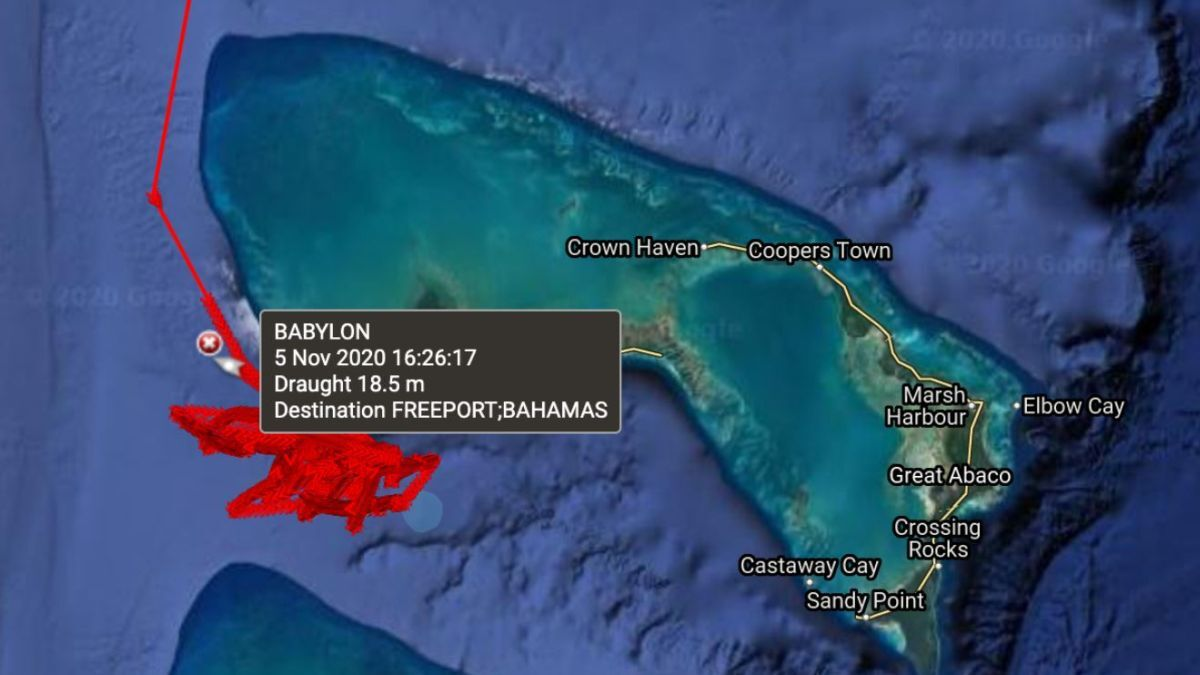 VLCC Babylon discharging in Bahamas Freeport lightening zone (Image: ClipperData)