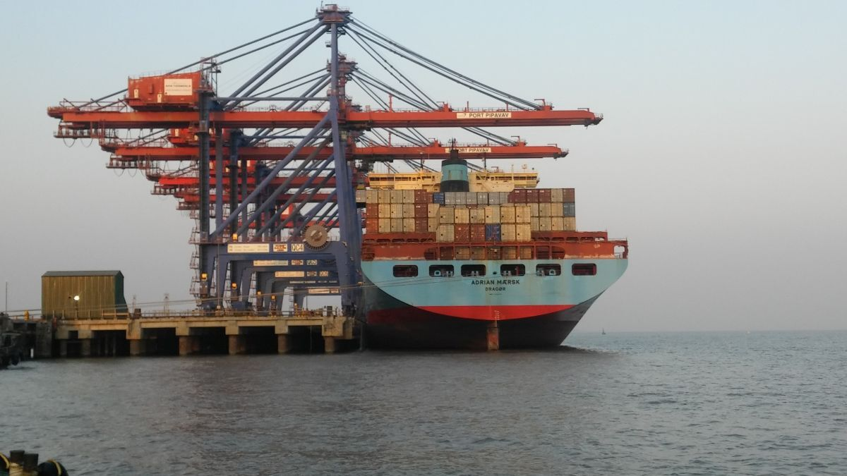Containers unloaded from Adrian Maersk in APM Terminals Pipavav, India