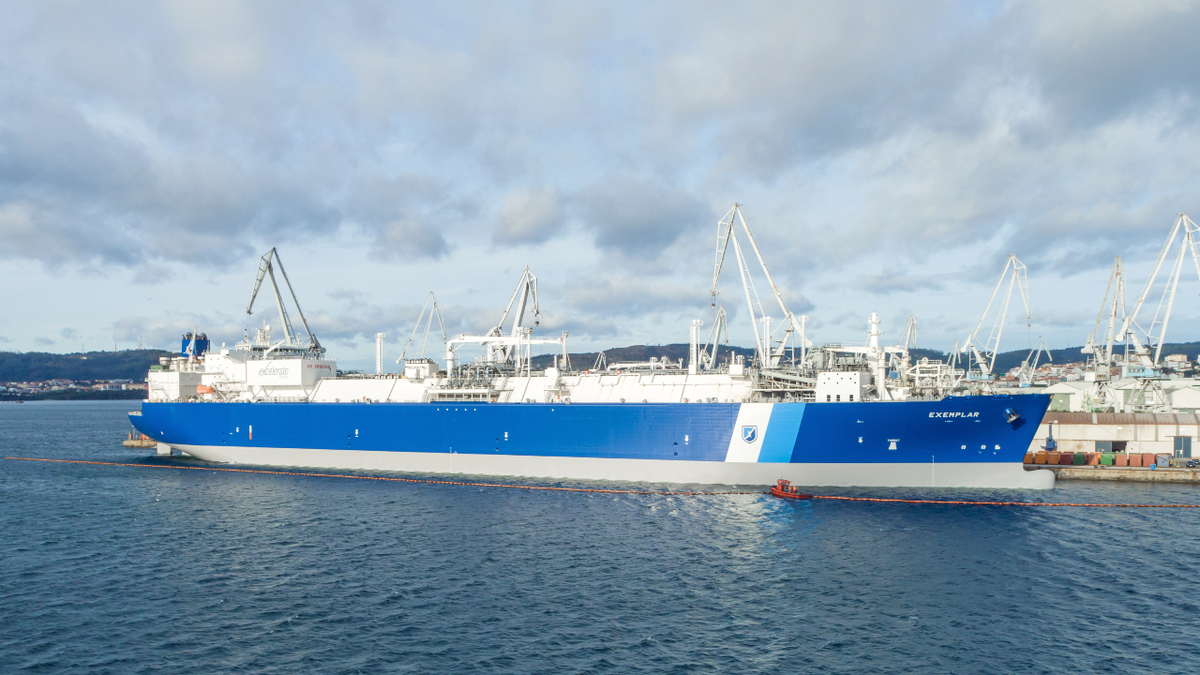 Excelerate Energy's FSRU Exemplar, one of 10 vessels transitioned to its ship management arm ETM (source: Excelerate)