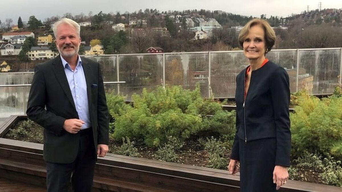 Anette Olsen, seen here with Hafslund Eco's Bjørn Ruyter, said the partnership can open the door for the Norwegian supply chain
