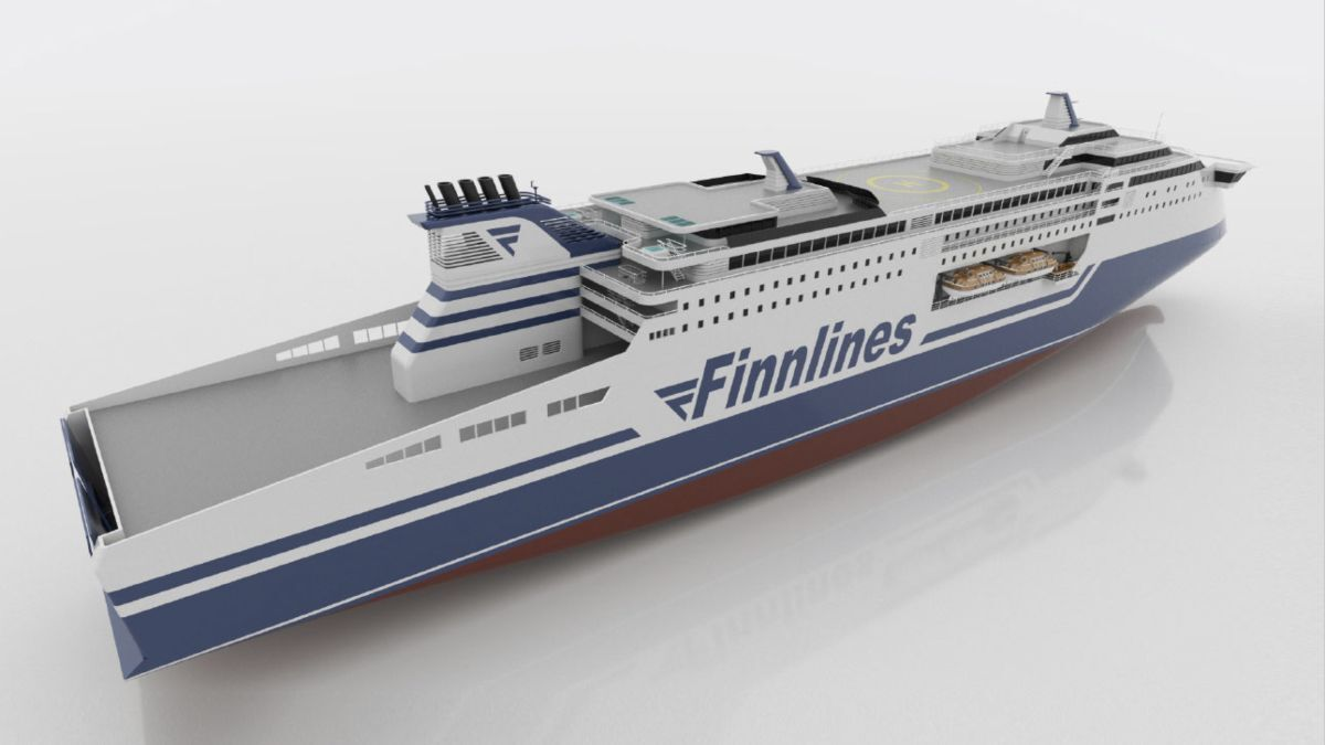 Due to arrive in 2023, the Superstar-class ropax vessels will use batteries in the harbour to cut emissions (source: Finnlines)