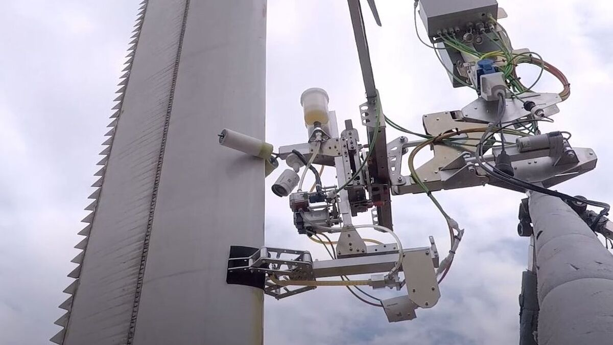 The Tethys/Aerones robot, seen here in action onshore, will be adapted for offshore use and tested in Scotland
