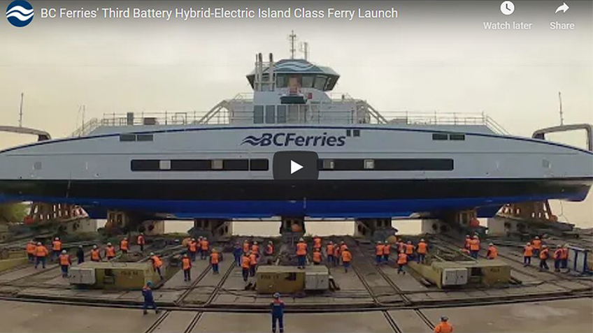 BC Ferries' Third Battery Hybrid-Electric Island Class Ferry Launch