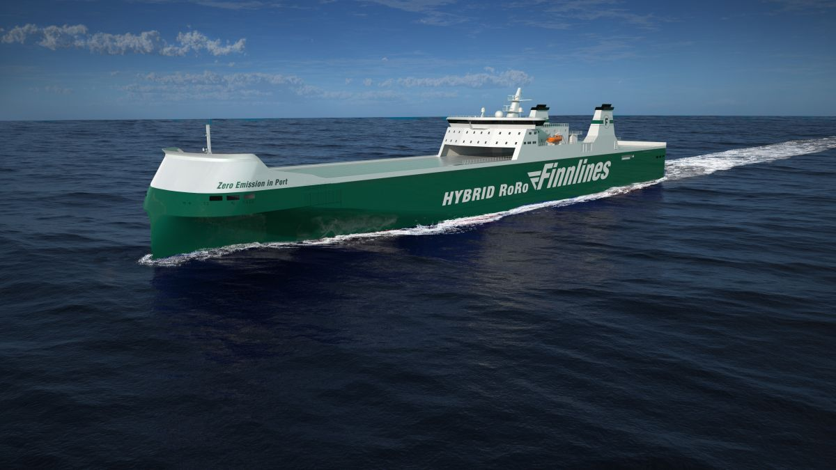 The new hybrid roro will increase cargo capacity by 38% over previous generation vessels (source: Finnlines)