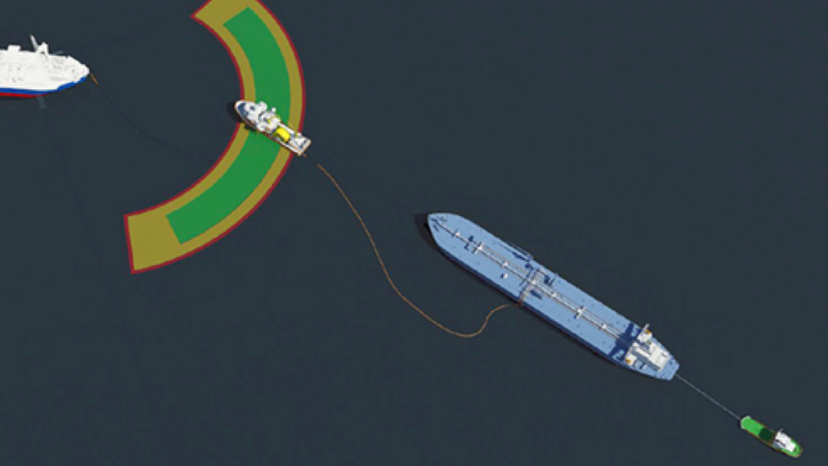 A cargo transfer vessel has the ability to deploy a mooring hawser and an offload hose to connect to a conventional tanker and then to the FPSO's offload hose (source: North P&I)