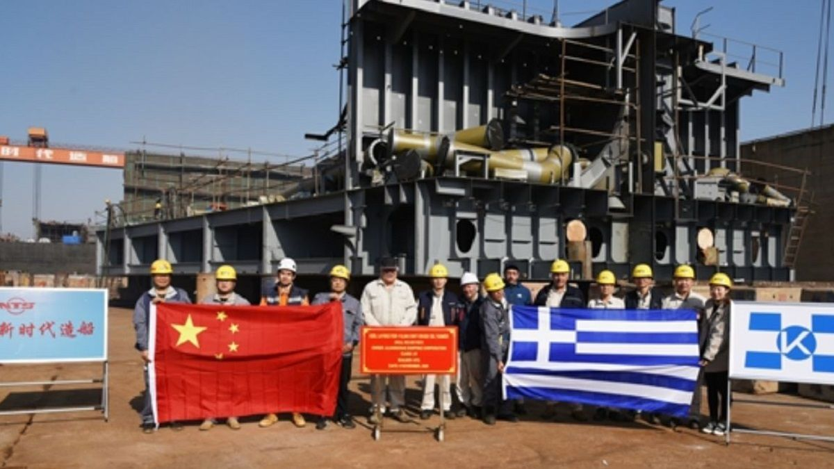 Keel laying ceremony at New Times Shipbuilding for the latest Chartworld tanker (Source: NTS)