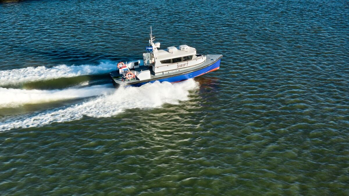 Configured as a crew transfer vessel, the FCS 1204 can transport up to 12 people