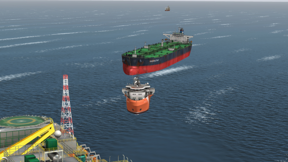 Illustration showing disconnected OSV-sized cargo transfer vessel with FPSO in foreground (source: North P&I)