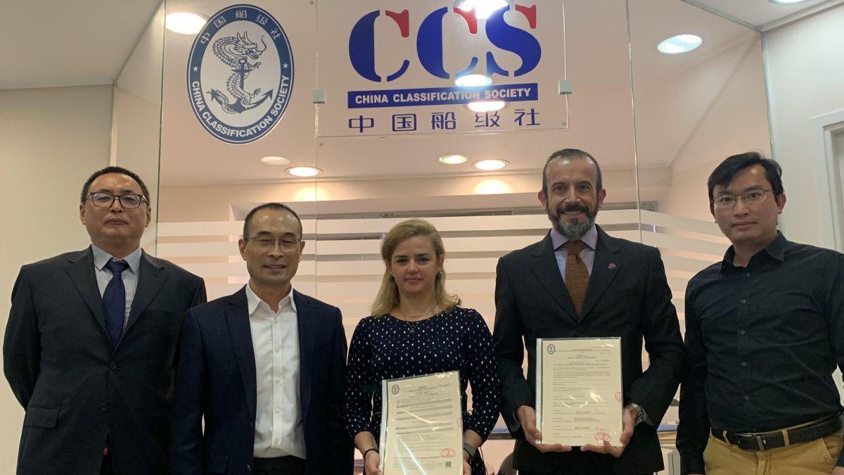 L-R: A Yuan (CCS), J Chen (CCS), E Tsolaki (EF), S Konstantinos (EF), W Wei (CCS) with type-approval certificates (Source: EF)