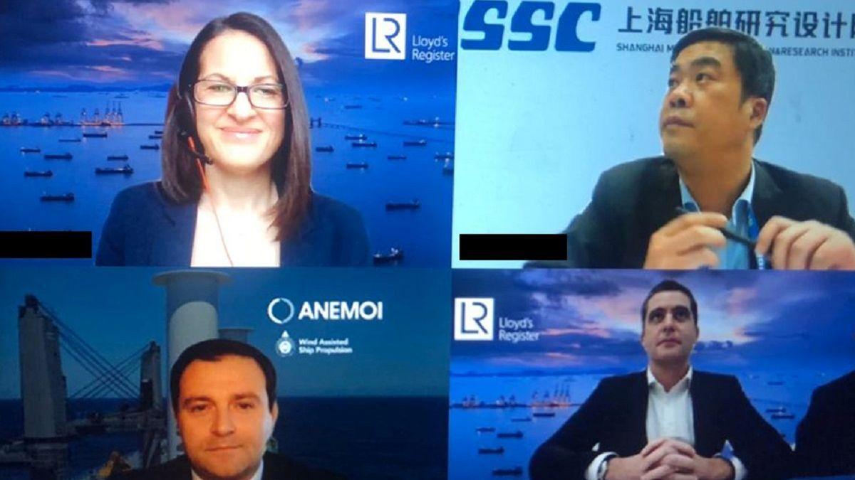 Top: Emma Turner (LR), Mr Wang Gang Yi (SDARI) Bottom: Nick Contopoulos (Anemoi), Mark Darley (LR)