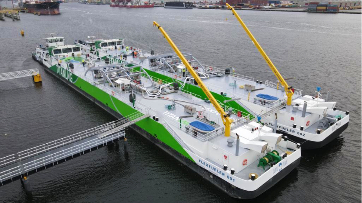 Sister vessels Flex Fueler 001 and Flex Fueler 002 underpin the availability of lower carbon fuels in ARA region (source: Titan LNG)