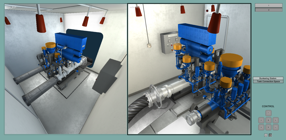 Wärtsilä TechSim LNG simulator provides visualisation from two angles for engineering training (source: Wärtsilä)