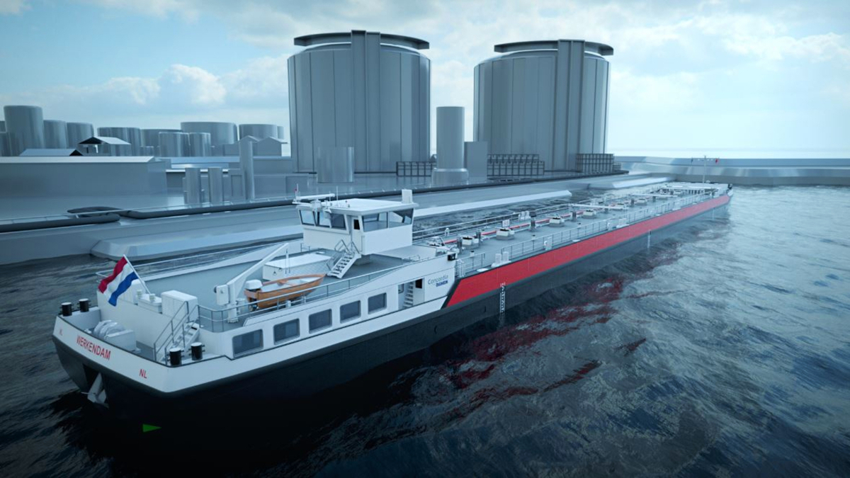 Each of the 40 inland chemical tankers will have two V12 E3262 LE 201 natural gas engines (source: Concordia Damen)