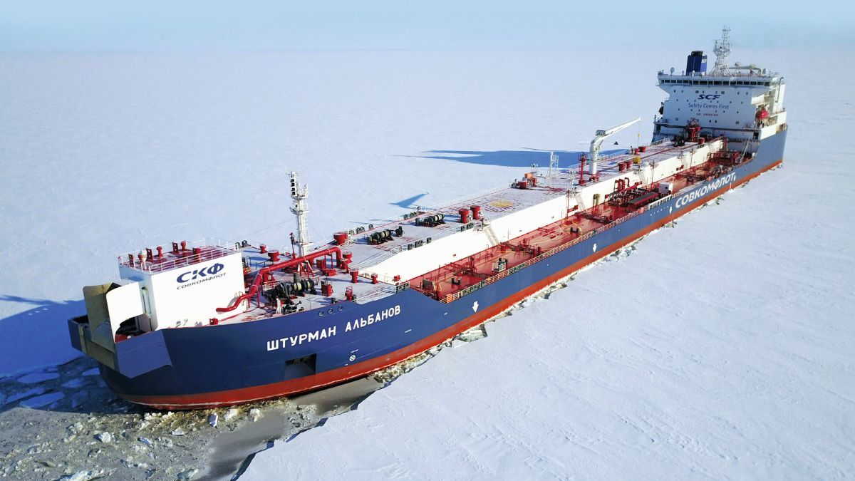 SCF's Arctic shuttle tanker Shturman Albanov moves stern-first through the ice of the Gulf of Ob in the Kara Sea (source: SCF)
