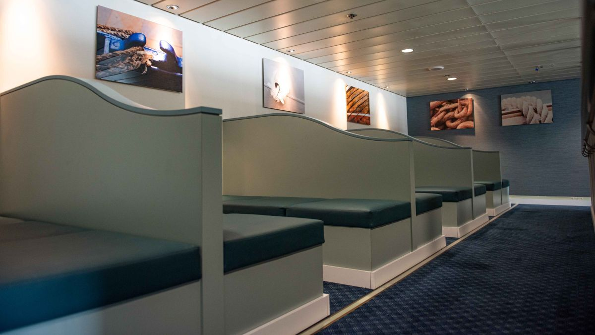Modernised lounges offer eight lie-flat beds, providing drivers the option to sleep during the crossing between Larne, Northern Ireland and Cairnryan, Scotland (source: P&O Ferries)