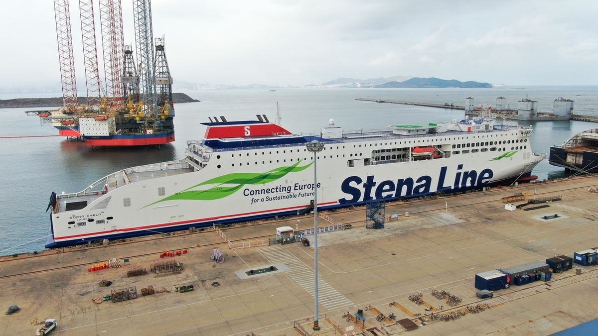 Stena Embla at CMI Jinling Weihai Shipyard (Image: Stena Line)