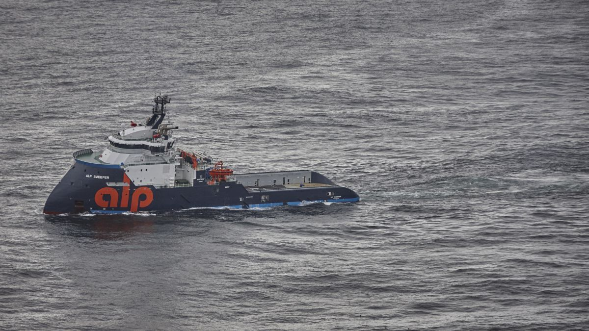 The anchor-handling tug Alp Sweeper recently arrived on the North Sea spot market from the Mediterranean (source: Alp Maritime)