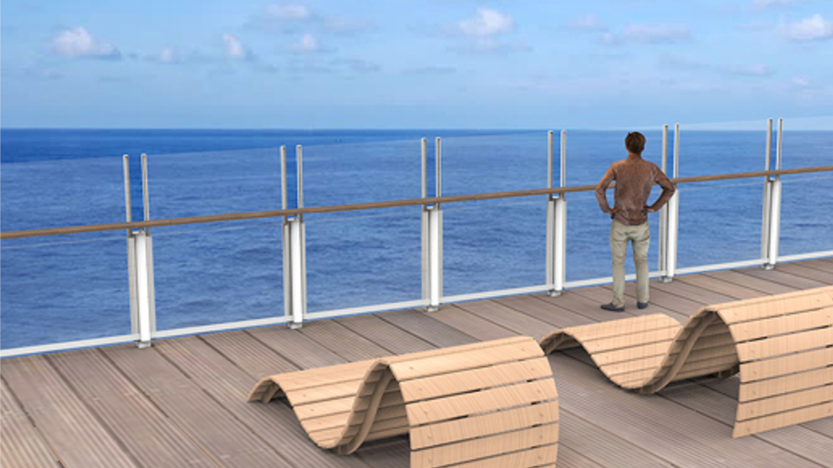 BalustradeMove can be used to provide wind protection for outdoor restaurants or sundecks on board (source: Brombach + Gess)