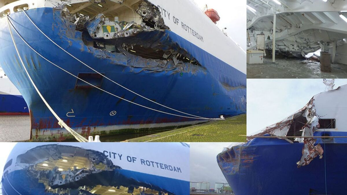 Damage on City of Rotterdam after collision with Primula Seaway roro ship (source: MAIB)
