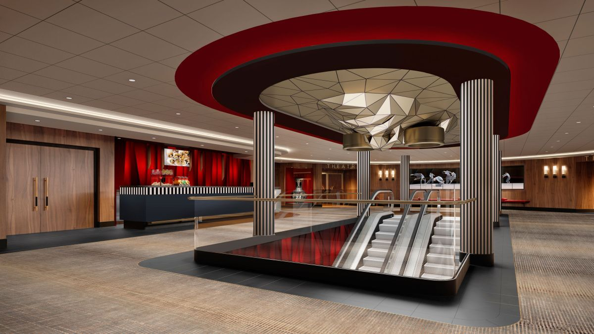 Global Dream will have increased public areas per person to complement the concept of connectivity and open spaces, exemplified by its theatre lobby and Horizon Lounge (source: Genting)