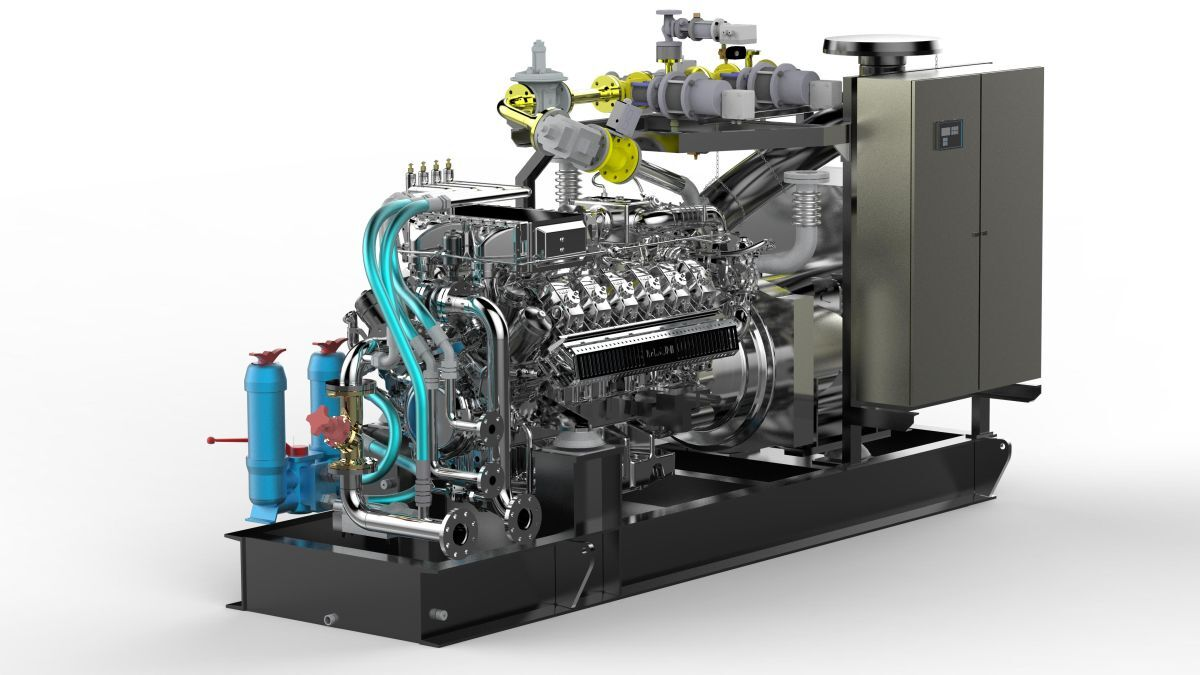 The MAN V-12 lean-burn gas engine, E3262 LE201, is well suited for marine applications using LNG (source: MAN Rollo)