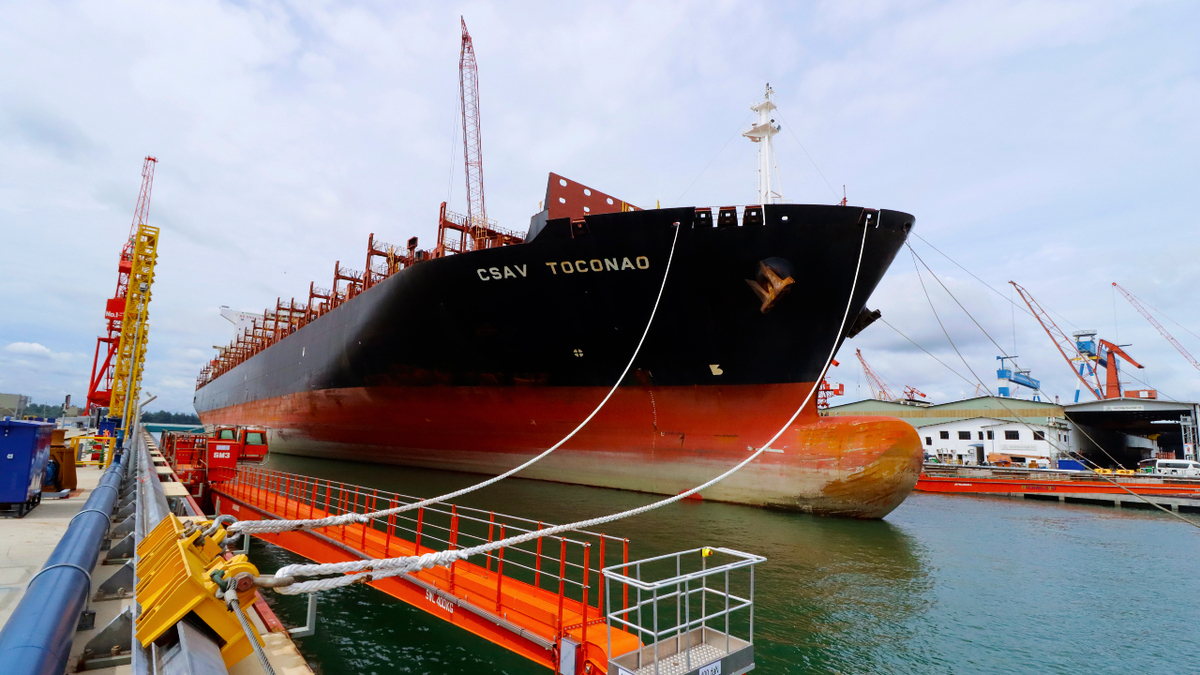 Container vessel CSAV Toconao was the first vessel to undergo repairs in MHB's new Dry Dock No 3 (source: MHB)
