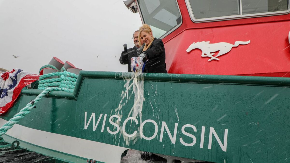 Wisconsin was christened by Sally Stevens, wife of vice president Robert Zadkovich (source: Great Lakes)