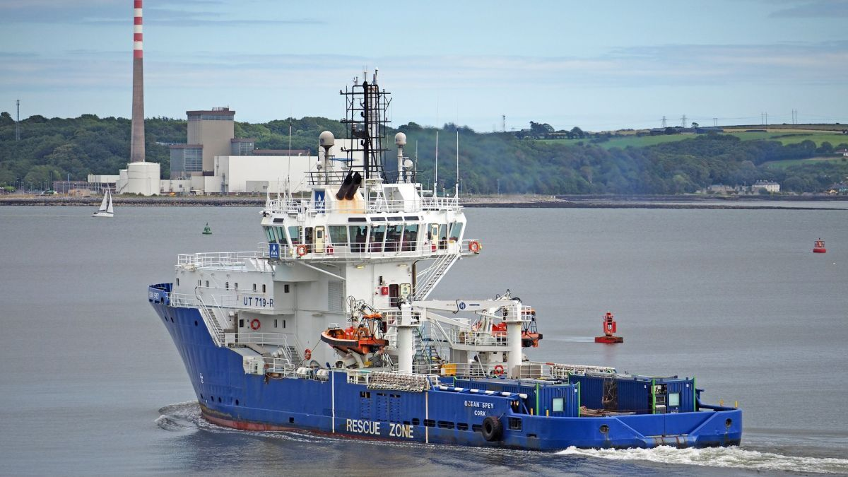 Irish Mainport Ocean Spey was overhauled in Cork Dockyard (source: Royston)