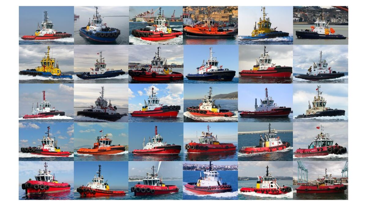 Collage of 30 tugs built and delivered by Sanmar in 2020 (source: Sanmar)