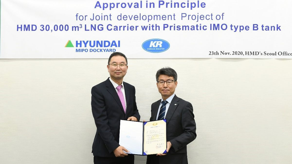 AiP granted to apply prismatic tank technology to smaller LNG carrier