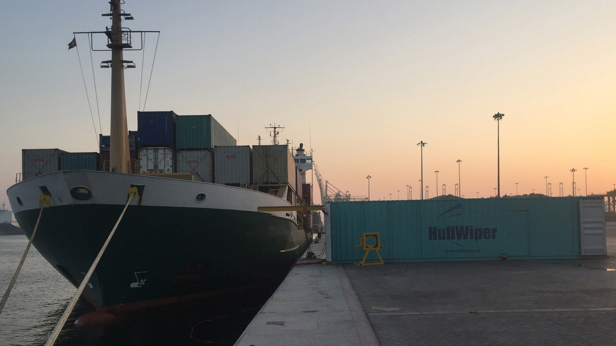 Hull cleans will be conducted using a 40-ft hull cleaning container (Image:HullWiper)
