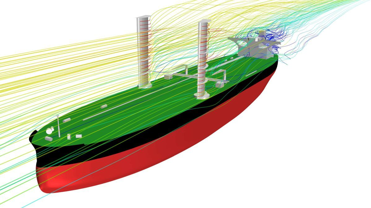 Render of the VLCC with the wing sails in place (Image copyright KSOE)
