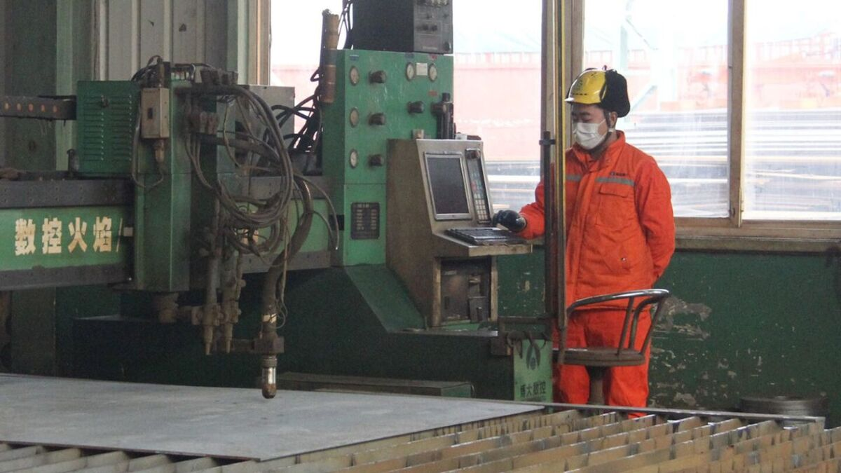 Rizhao Gangda Shipbuilding cuts steel on Robert Allan ASD 34/60 design tug (source: RAL)