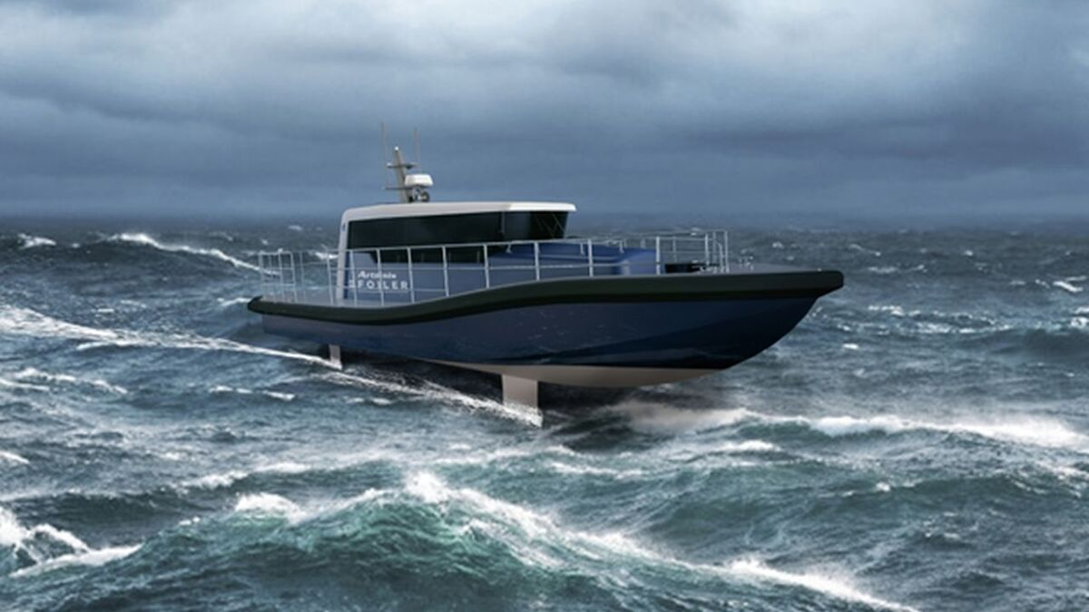 Zero-emissions workboat will 'fly' over the water