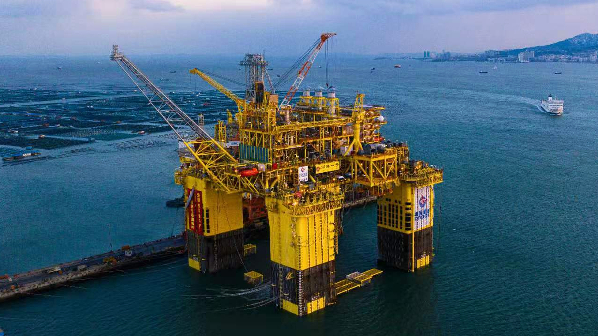 Massive semi-submersible platform launched for Chinese gas field project