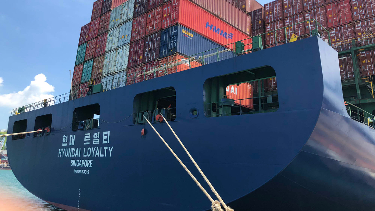 One of the 40 container vessels in the EPS fleet is 2009-built, 8,566-TEU Hyundai Loyalty (source: EPS)