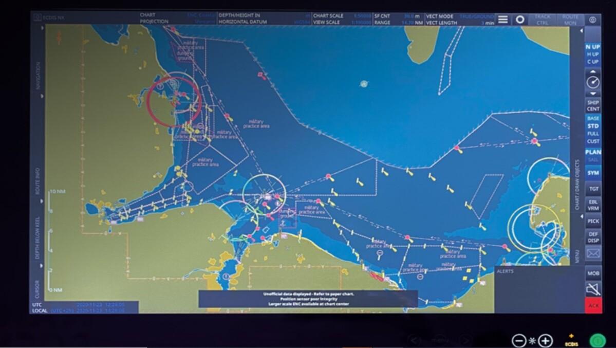 Raytheon ECDIS NX Compact display highlights navigational hazards (source: Raytheon)