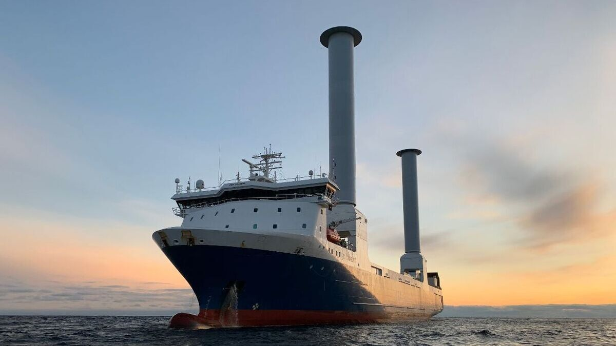 Norsepower has installed two 35m tall rotor sails aboard a ro-ro vessel (Image: Norsepower Oy)
