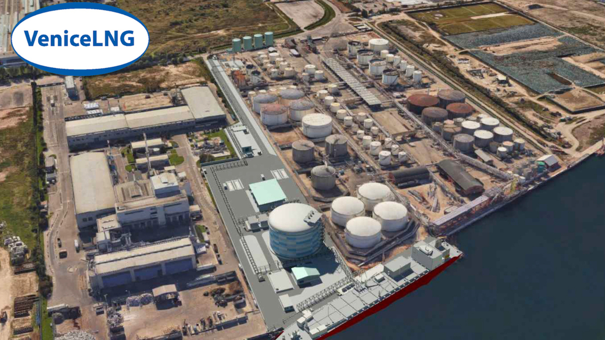 Venice LNG import terminal will be developed on a brownfield site, with construction completed in 2023 (source: Venice LNG)