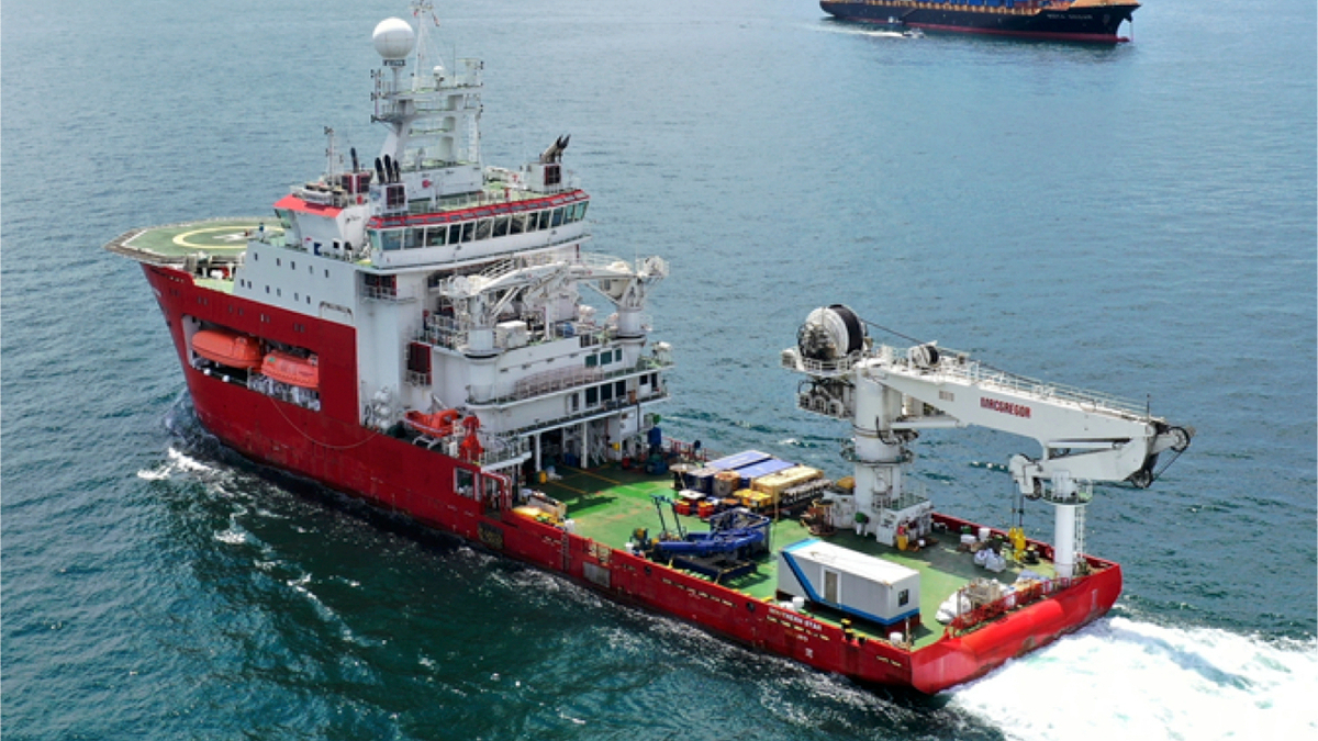 Southern Star with its earlier Covid isolation container on the back deck (image via Tasik Subsea)