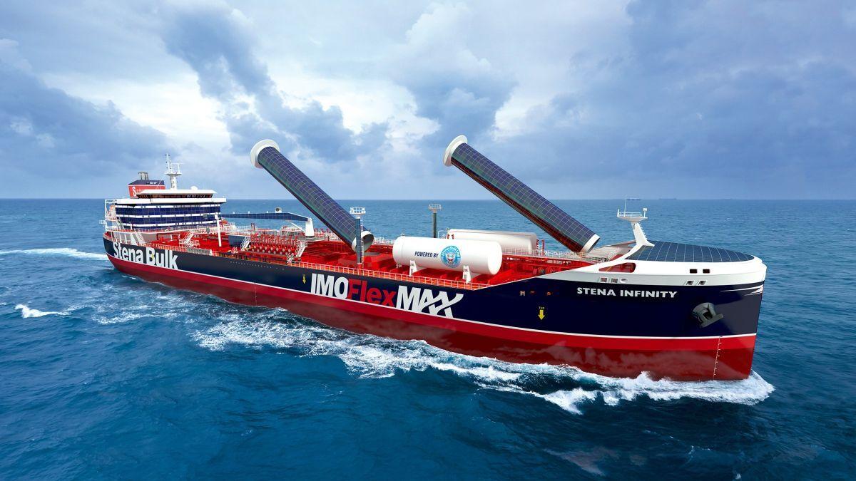 IMOFlexMAX: Stena Bulk design uses rotor sails and solar panels (source: Stena Bulk)
