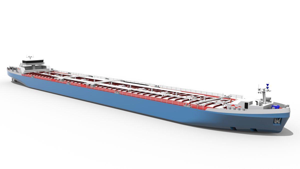 Render of low water level river tanker designed for BASF (source: Technolog)