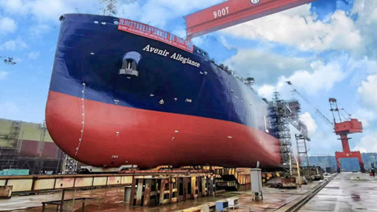 With a capacity of 20,000 m3, Avenir Allegiance will be the world's largest, purpose-built LNG bunker and supply vessel when delivered in Q3 (source: Avenir LNG)