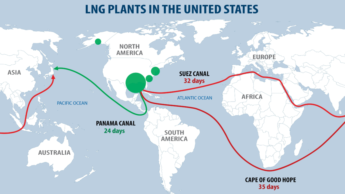 US LNG plants and maritime routes (source: IHS Markit, US Liquefaction Map, 2021)